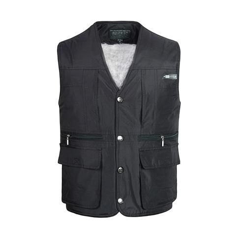 d08f7beaaaa Fleece Multi Pocket Men Vest Autumn Winter Male Casual Thick Warm Varsity  Waistcoat With Many Pockets Padded Sleeveless Jacket