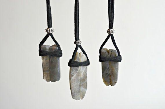 Labradorite Necklace Suede Leather Crystal by IndigoLizard on Etsy