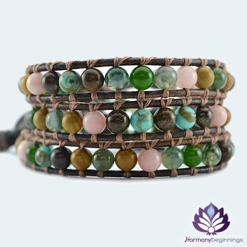 Our Joy wrap bracelet is designed with a combination of Moss Agate, Bronzite, Green Jade, Pink Peruvian Opal and African Turquoise Gemstones.  Embrace change with Joy, let go of what no longer serves a good purpose. Welcome tranquility, good luck and abundance. Life is truly beautiful after all. Be Joyful.  On distressed brown leather (or vegan alternative*), finished with a unique silver button clasp. Can be purchased in two optional sizes ...