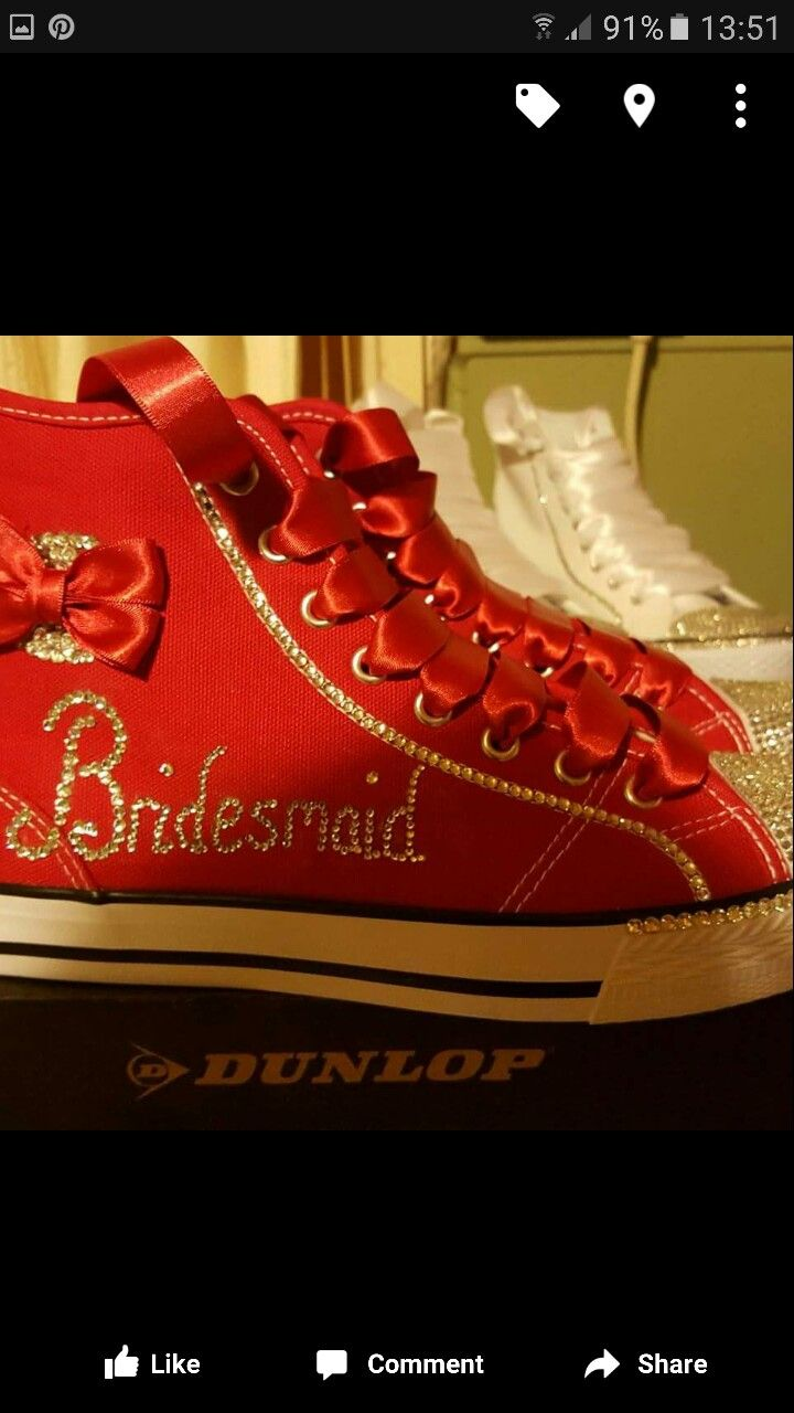 Bridesmaid canvas shoes to dance the night away by Gem's Bling Bits
