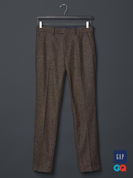 Gap   GQ David Hart tweed pants - David Hart designs sophisticated clothing with a nod to the past. Inspired by the classic midcentury American uniform, Hart updates the impeccable tailoring of the 50s and 60s with modern fabrics and colors. Think suits, topcoats, sweaters, and polos that are retro (without living in the past) and razor sharp (yet easy to pull off).