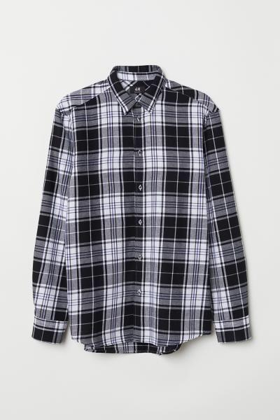 Rutig skjorta Regular Fit - Svart Vitrutig - HERR  94e3e556816d8
