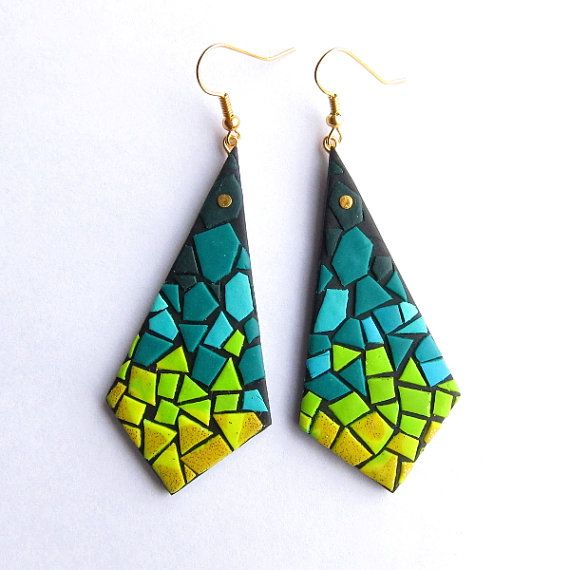 Polymer Clay Earrings, Neon Dangle Earrings, Green Emerald Turquoise Earrings, Statement Earrings, Geometric Earrings, Color Block Earrings