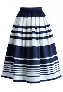Keep it Striped Midi Skirt in Navy - CHICWISH SKIRT COLLECTION - Skirt - Bottoms - Retro, Indie and Unique Fashion