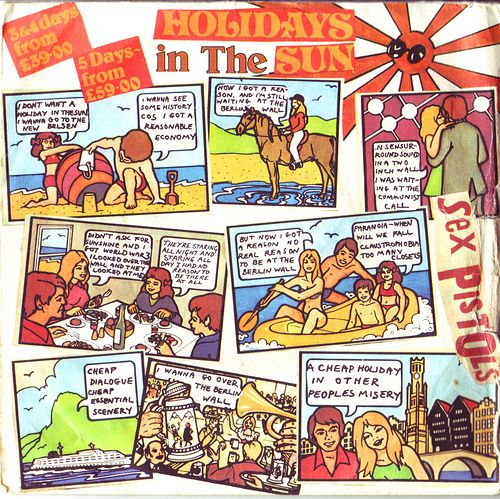 Record cover for the Sex Pistols' Holidays in the Sun, released on Virgin Records in 1977. This sleeve was eventually banned in the UK.