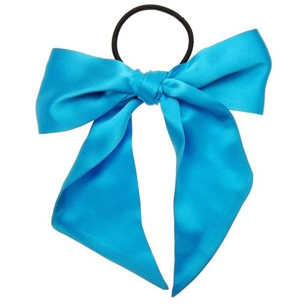 Women's L. Erickson Large Bow Ponytail Holder ($48) ❤ liked on Polyvore featuring accessories, hair accessories, capri blue, bow hair accessories, l. erickson hair accessories and l. erickson