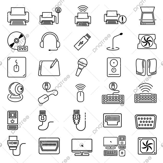 Vector Set Of Computer Hardware Computer Icon Technology Png And Vector With Transparent Background For Free Download In 2020 Computer Hardware Computer Icon Electronics Illustration