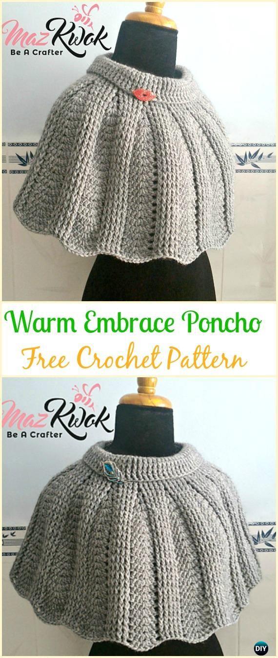 CrochetWarm Embrace Poncho Free Pattern - Crochet Women Capes & Poncho Patterns