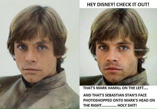 Это Марк Хэмилл слева. А это лицо Себастьяна Стэна наложенное в фотошопе на голову Марка справа.