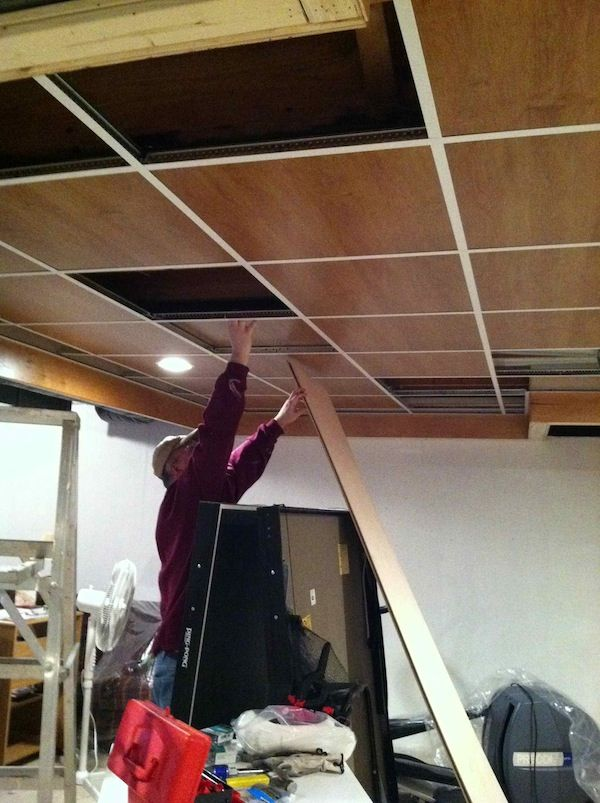 wood panel drop ceiling shop inspiration pinterest drop ceiling basement ceilings and. Black Bedroom Furniture Sets. Home Design Ideas