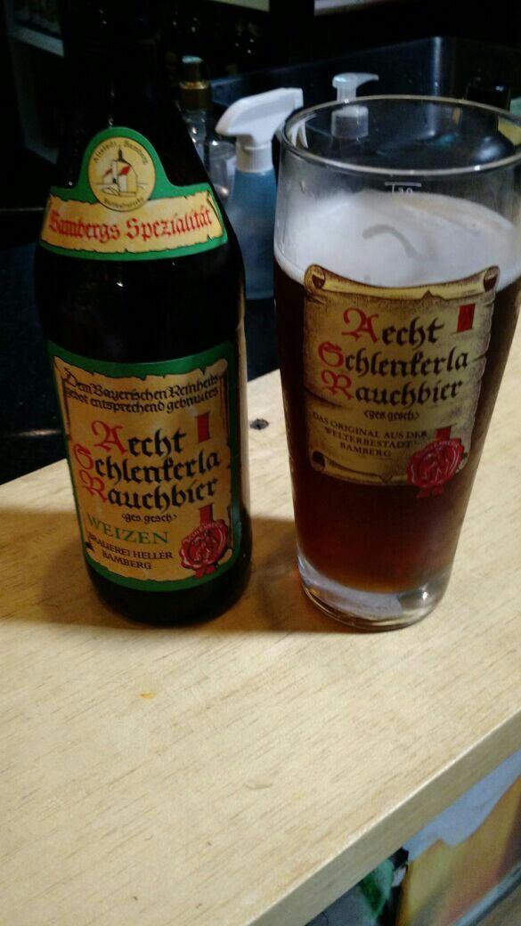 Aecht Schlenkerla Rauchbier Weizen! Smoked to the bone!