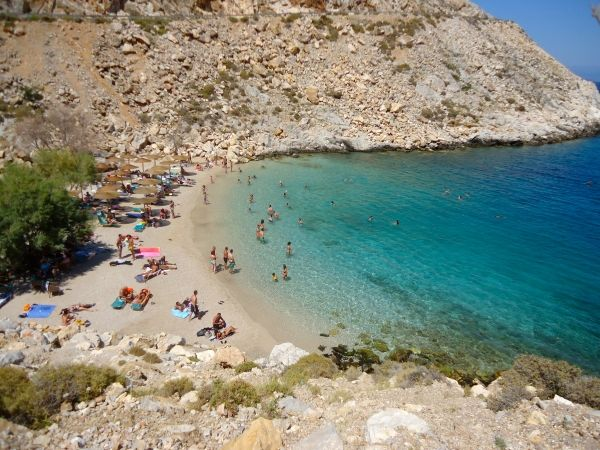 Green water beach down the road Chios island Greece
