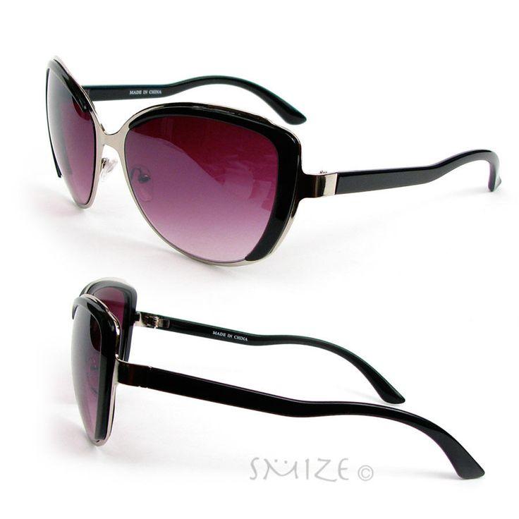New Cat Eye Plastic Metal Frame Hot Fashion Oversized Women's Sunglasses | eBay