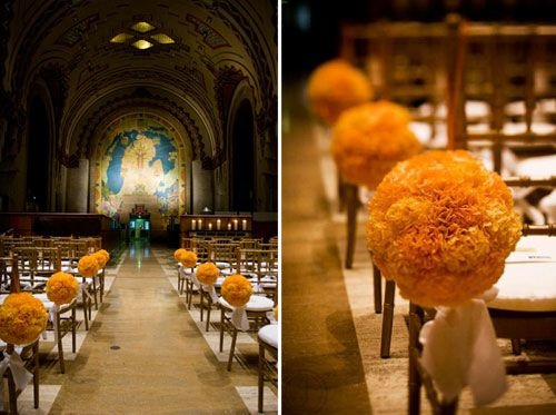 michigan orange pomander wedding aisle decor