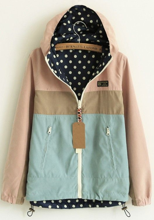 Pink Patchwork Long Sleeve Two-way Hooded Zipper Fashion Casual Cute Cotton Padded Rain Coat