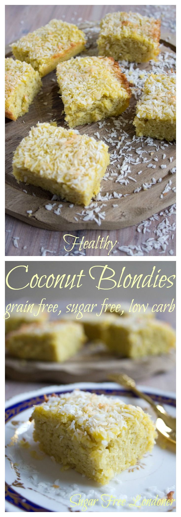An indulgent and deliciously moist dessert: These Sugar Free Coconut Blondies are low carb, paleo, gluten and grain free. Happy days!