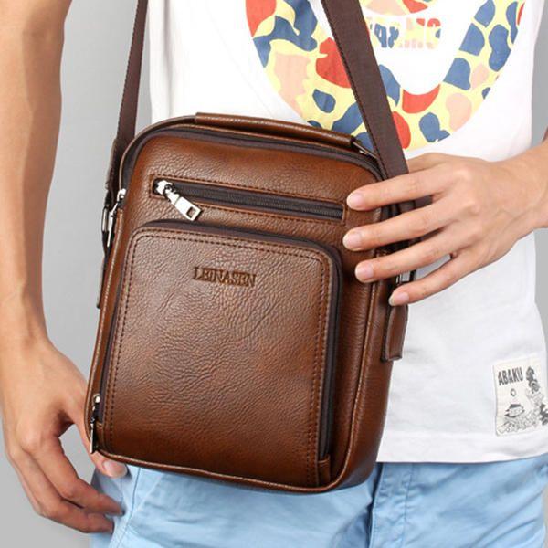 PU Leather Clutch Bag Casual Vintage Waterproof Multi-functional Shoulder Crossb - US$26.17