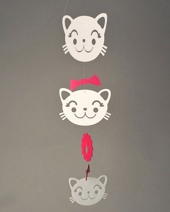 Spring Kitty Mobile Petite by daswooddesign on Etsy, $80.00