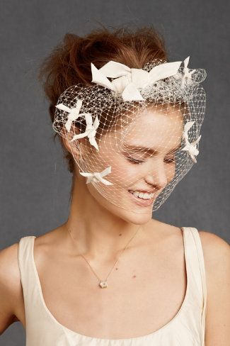 """In theory, I love this.  But I would feel like Tippi Hedren with these ribbony """"birds"""" in my peripheral vision all day.  From BHLDN."""