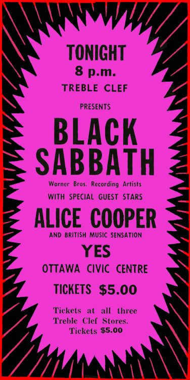 "chrisgoesrock: ""Black Sabbath, Alice Cooper, Yes - Ottawa Journal [Show Advertise 1971-07-19] "" What th– ?"
