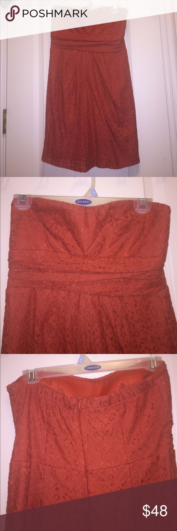 Orange Lace Dress Beautiful orange Strapless Lace Dress with padding in the chest area (no need for a bra!). Zipper in the back. From Francesca's. Perfect for UT Austin games, Clemson or Auburn! Free People Dresses Strapless
