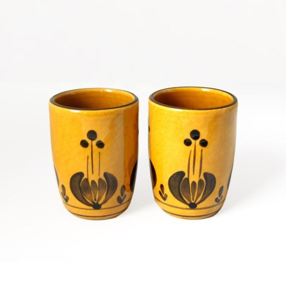 Set of Two Yellow Autumn Cups