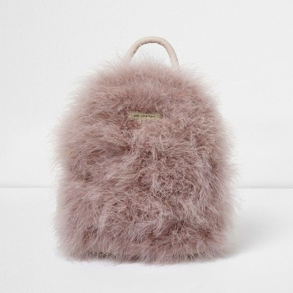 River Island Pink feather mini backpack (79 AUD) ❤ liked on Polyvore featuring bags, backpacks, bags / purses, pink, women, brown bag, strap backpack, pink mini backpack, mini bags and strap bag
