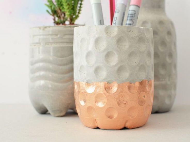 Grune Farbe Herstellen :  Anleitung Dekorative Behälter aus Beton herstellen via DaWandacom