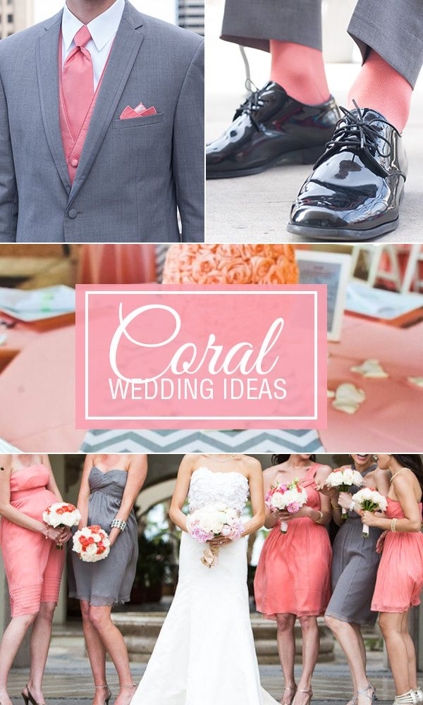 Consider dressing the groomsmen in a slim fit, gray tuxedo with all the necessary accessories: coral vest, coral tie, coral pocket square, and don't forget (of course) coral socks. Then, dress the bridesmaids in mismatched gray and coral dresses and throw in some complimentary flowers and you have a wedding party that won't be forgotten. Plus, if the tuxedo is rented, the socks provide a great groomsmen gift that they can keep as a party favor. Coral is once again a no brainer this year.