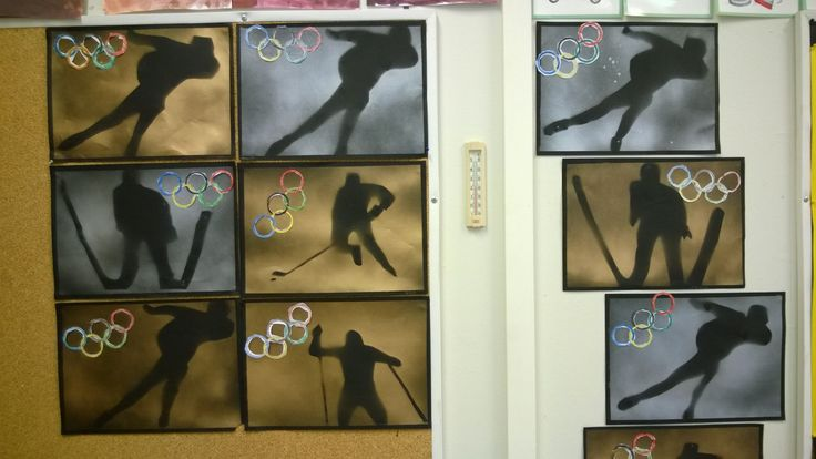 Talviolympialaiset; urheilijan kuva leikattu lehdestä ja kiinnitetty sinitarralla mustalle taustapaperille. Spraymaalaus ja kuvan irroitus.