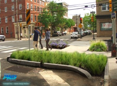 After Concept - Rain Garden to help reduce/slow stormwater in CSO Green City, Clean Waters | Philadelphia Water Department
