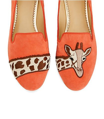 Giraffe Suede Smoking Slippers
