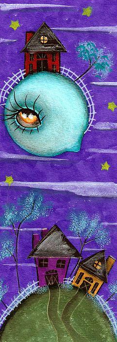 Painting ,Abril Andrade , big eyes, pop surrealism, fantasy art , kids room, home decor, creepy, cute, lowbrow art, wall decor, sweet, purple, whimsical ,retro ,vintage, fairy, fairie, blue, fantasy , story, saltbox house, house, moon, folk art