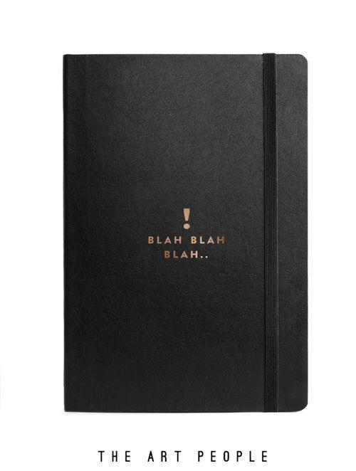 "Black ""Blah-Blah"" Journal With Elastic Band"