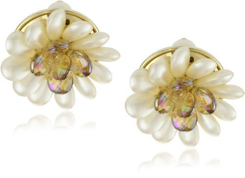 "Carolee ""Late Bloomer"" Gold-Tone White Pearl Color Flower Ea $45: White Pearl, Color Flower, Carolee Late, Colors, Carolee Quot Late, Quot Late Bloomer Quot, Flower Earrings"