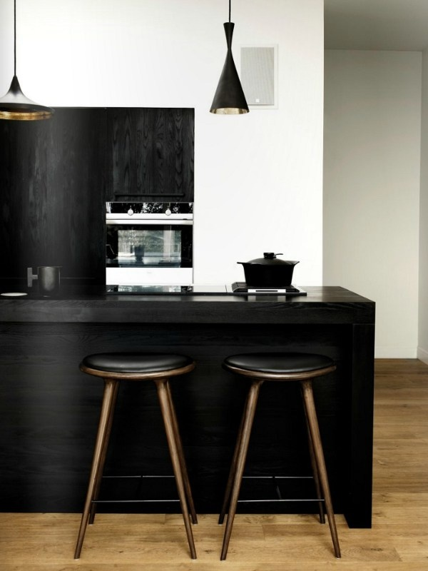 High wooden barstool by MATER | #design Space #stool #kitchen #interiors