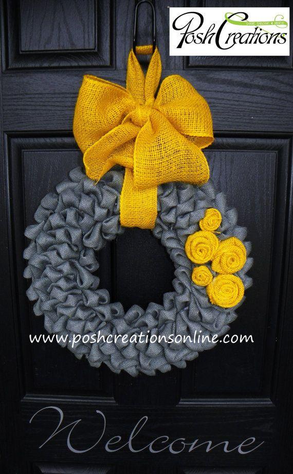 Burlap Wreath, Spring Burlap Wreath, Gray Burlap, Summer Burlap Wreath, - love the color combo!