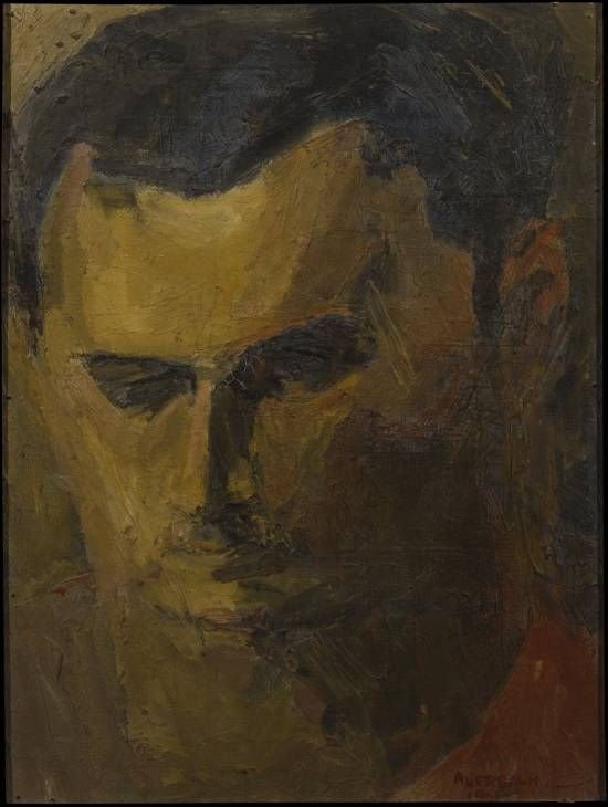 Artist : Frank Auerbach (born 1931) Title : Portrait of Leon Kossoff Date : 1951 Medium : Oil paint on canvas