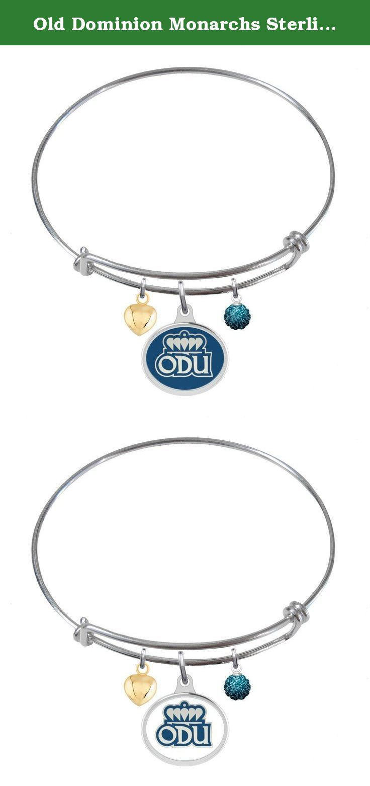 """Old Dominion Monarchs Sterling Silver Adjustable Bangle Bracelet with Enamel Charm. A popular look using our solid sterling silver bangle bracelet and the classic school enamel charm. The addition of a school color crystal ball and a small puffed heart gives the bracelet a beautifully finished look.....""""the indicia featured on this product is a protected trademark owned by Old Dominion University.""""."""