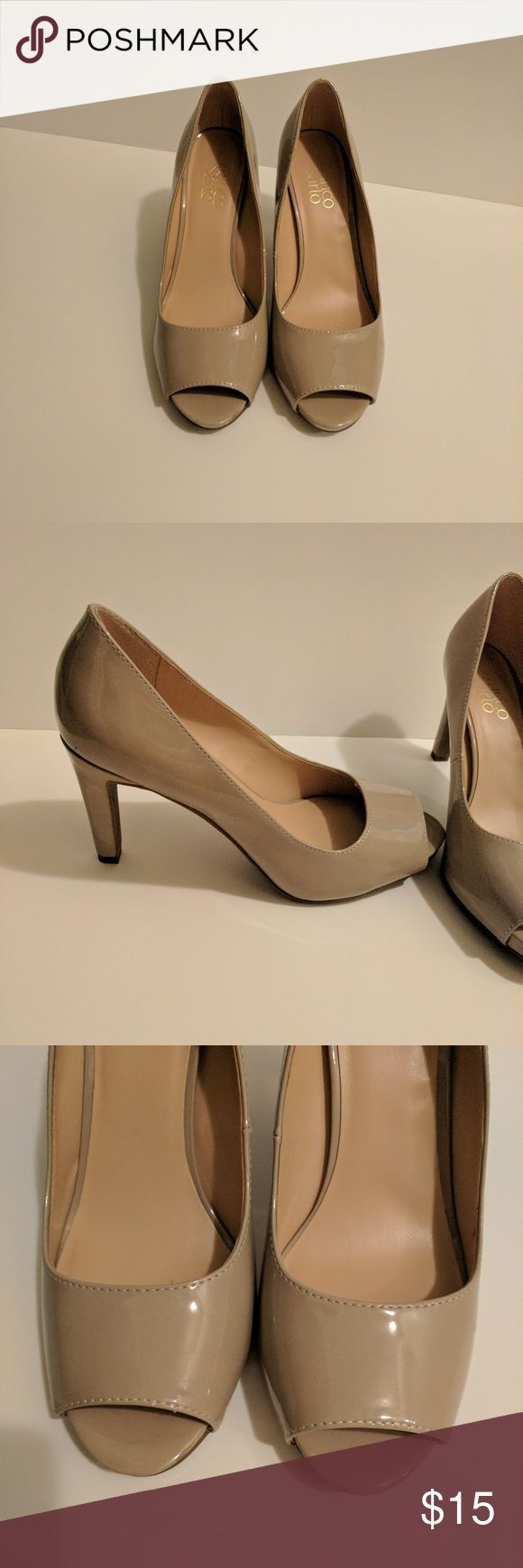 Franco Sarto peep toe pumps Franco Sarto nude peep toe pumps. Worn once includes box. Franco Sarto Shoes Heels