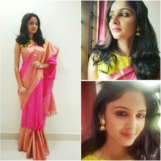 Traditional Wear.. Pink Kancheevaram saree with designer blouse. Loved those jumkas..