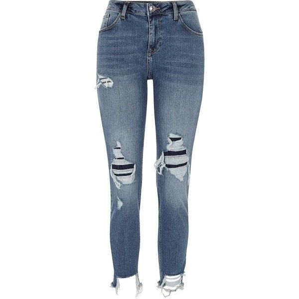 River Island Blue Alannah ripped relaxed skinny fit jeans (2.385 UYU) ❤ liked on Polyvore featuring jeans, pants, bottoms, calça, blue, skinny jeans, women, destroyed skinny jeans, blue denim jeans and distressed jeans