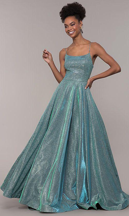 4d2c17e3c Long Iridescent Glitter Corset Backless Prom Dress in 2019