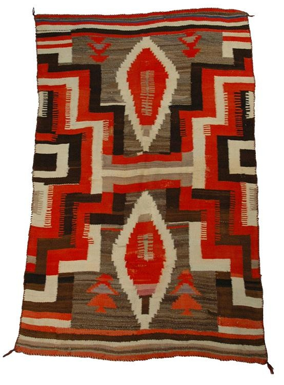 Antique Navajo American Indian Transitional Blanket.                                                                                                                                                                                 More