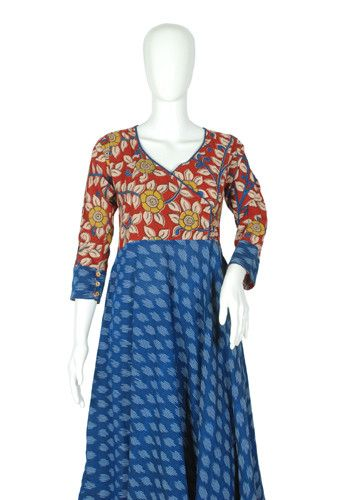 Blue Ikat and Kalamkari Angrakha Anarkali Design 4 – Desically Ethnic