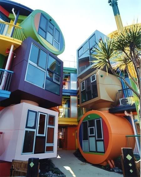 Apartment complex in Tokyo. If ever live in an apartment, I want it to look like it jumped out of a cartoon.