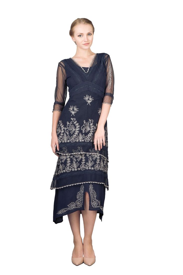 1920s Formal Dresses Guide Tea Party Dress in Sapphire by Nataya $210.00 AT vintagedancer.com