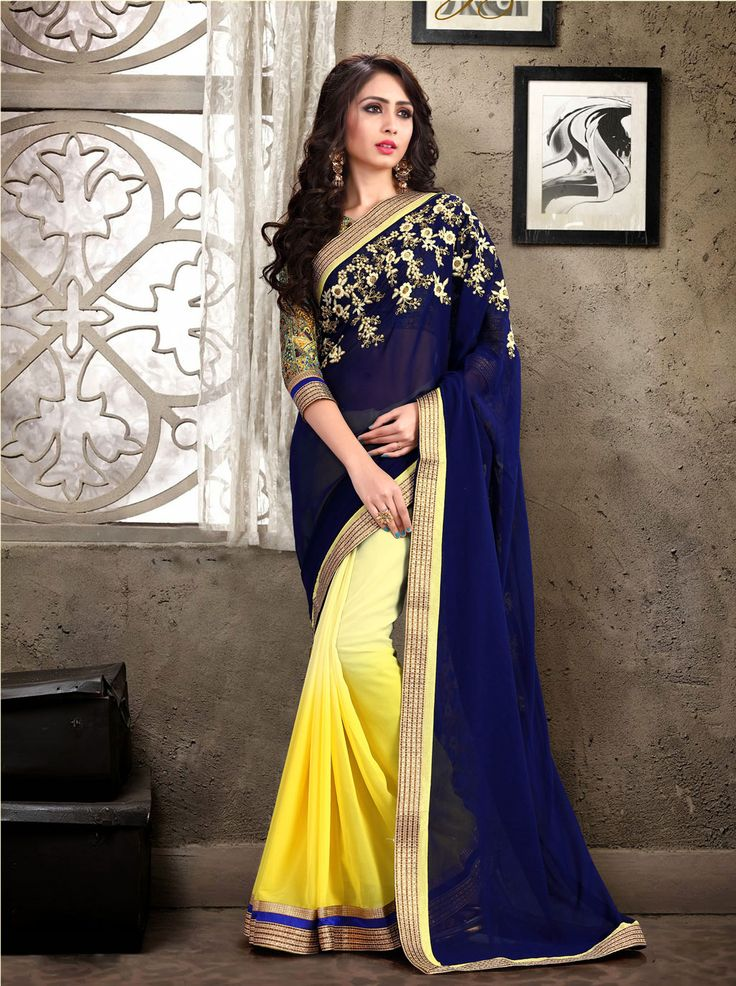 Navy Blue Georgette Party Wear Saree 66576