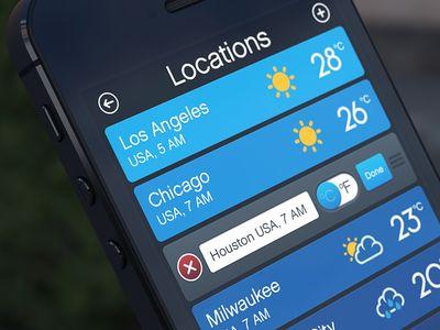 Weather App locations list