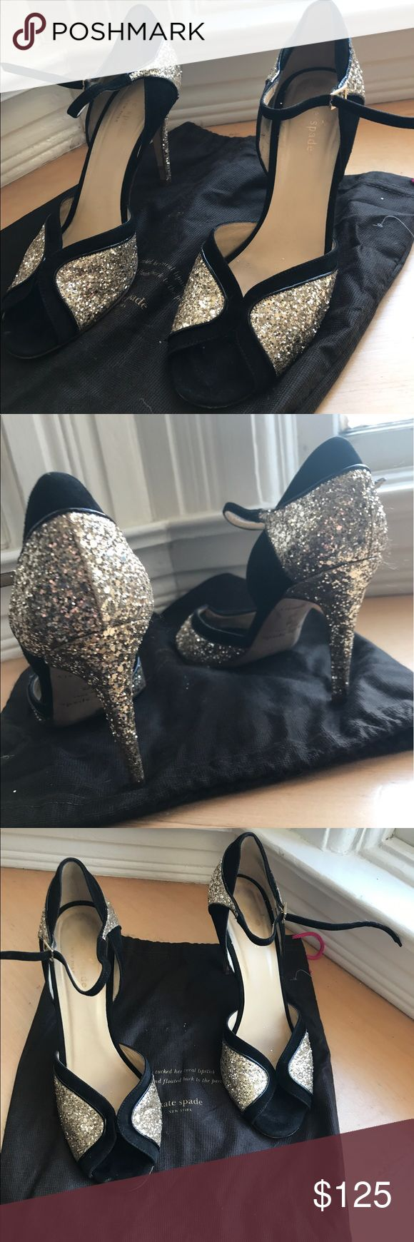 Kate Spade black and gold open toe heels Kate Spade black and gold open toe heels! Dust bag included. Used but in good condition. kate spade Shoes Heels
